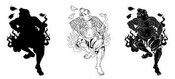 Ιαπωνικός Σαμουράι με το πλήρες σώμα δερματοστιξιών φύλλων και δράκων Συρμένο χέρι παραδοσιακό ιαπωνικό διάνυσμα ατόμων Στοκ εικόνα με δικαίωμα ελεύθερης χρήσης