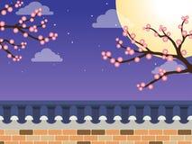 Ιαπωνικός φράκτης τοίχων πετρών ύφους με το δέντρο sakura απεικόνιση αποθεμάτων