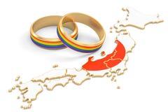 Ιαπωνικός χάρτης με τα δαχτυλίδια ουράνιων τόξων LGBT, τρισδιάστατη απόδοση ελεύθερη απεικόνιση δικαιώματος