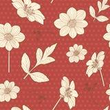 Ιαπωνικό άνευ ραφής κόκκινο floral σχέδιο Στοκ Φωτογραφίες