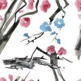 Ιαπωνικό άνθος κερασιών, άνευ ραφής σχέδιο watercolor δέντρων sakura Στοκ φωτογραφίες με δικαίωμα ελεύθερης χρήσης