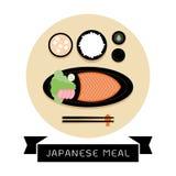Ιαπωνικό γεύμα με το ρύζι και το φρέσκο σολομό Στοκ Φωτογραφίες