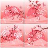ιαπωνικό δέντρο κερασιών διανυσματική απεικόνιση