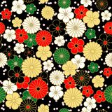 Ιαπωνικό εκλεκτής ποιότητας σχέδιο λουλουδιών στο μαύρο υπόβαθρο Στοκ Εικόνες