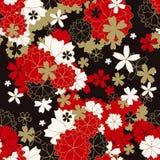 Ιαπωνικό κλασικό floral άνευ ραφής σχέδιο Στοκ Εικόνες