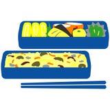 Ιαπωνικό μεσημεριανό γεύμα κιβωτίων διανυσματική απεικόνιση