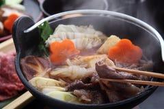Ιαπωνικό δοχείο Sukiyaki βόειου κρέατος στοκ φωτογραφία