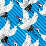 ιαπωνικό πρότυπο Πέταγμα γερανών Διακόσμηση με τα ασιατικά μοτίβα διάνυσμα διανυσματική απεικόνιση
