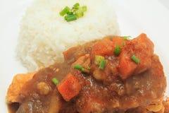 Ιαπωνικό ρύζι κουζίνας με την τσιγαρισμένη σάλτσα κοτόπουλου και κάρρυ με τις πατάτες και τα καρότα Στοκ εικόνα με δικαίωμα ελεύθερης χρήσης
