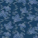 Ιαπωνικό σχέδιο λουλουδιών ορχιδεών paulownia Στοκ εικόνες με δικαίωμα ελεύθερης χρήσης