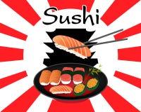Ιαπωνικό σύνολο σουσιών τροφίμων Στοκ εικόνα με δικαίωμα ελεύθερης χρήσης