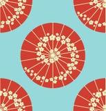 Ιαπωνικό ύφος σημείων Πόλκα σχεδίων ομπρελών άνευ ραφής Στοκ Εικόνες