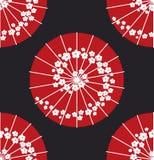 Ιαπωνικό ύφος σημείων Πόλκα σχεδίων ομπρελών άνευ ραφής Στοκ Φωτογραφίες