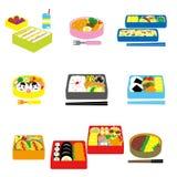 Ιαπωνικό BENTO, μεσημεριανό γεύμα κιβωτίων, κιβώτιο bento ελεύθερη απεικόνιση δικαιώματος