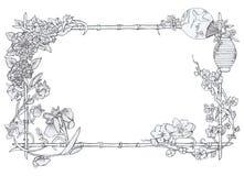 Ιαπωνικό floral πλαίσιο Στοκ Εικόνες