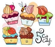 διασκέδαση 5 cupcakes Στοκ φωτογραφία με δικαίωμα ελεύθερης χρήσης