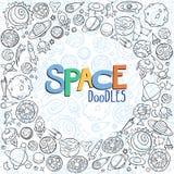 Διαστημικά αντικείμενα doodles Στοκ Εικόνες