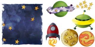 διαστημικά αστέρια φεγγαριών απεικόνισης Στοκ εικόνα με δικαίωμα ελεύθερης χρήσης