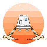 Διαστημική ενότητα που προσγειώνεται στον Άρη Στοκ Φωτογραφίες