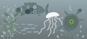 διαστημικό διάνυσμα κειμένων φυκιών θάλασσας ζωής απεικόνισης ψαριών αντιγράφων φυσαλίδων Στοκ φωτογραφία με δικαίωμα ελεύθερης χρήσης