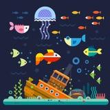 διαστημικό διάνυσμα κειμένων φυκιών θάλασσας ζωής απεικόνισης ψαριών αντιγράφων φυσαλίδων meno νησιών της Ινδονησίας gili lombok  διανυσματική απεικόνιση