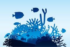 διαστημικό διάνυσμα κειμένων φυκιών θάλασσας ζωής απεικόνισης ψαριών αντιγράφων φυσαλίδων Στοκ εικόνα με δικαίωμα ελεύθερης χρήσης