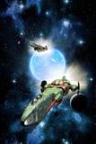Διαστημικό διαστημόπλοιο μαχητών και μπλε ήλιος Στοκ Εικόνα