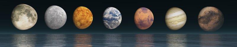 Διαστημικό τοπίο πανοράματος άποψη του κόσμου Στοκ Εικόνες