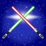 Διασχισμένα ελαφριά sabers. Στοκ Φωτογραφίες