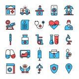 ιατρικά εικονίδια ιατρικής υπηρεσίας εικονιδίων καθορισμένα διανυσματικά για την υπηρεσία υγειονομικής περίθαλψης απεικόνιση αποθεμάτων