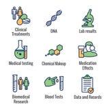 Ιατρικά εικονίδια υγειονομικής περίθαλψης - άνθρωποι που σχεδιάζουν την ασθένεια ή το επιστημονικό σύνολο εικονιδίων διαδικασίας  ελεύθερη απεικόνιση δικαιώματος