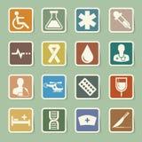 Ιατρικά εικονίδια αυτοκόλλητων ετικεττών καθορισμένα. Απεικόνιση Στοκ εικόνα με δικαίωμα ελεύθερης χρήσης