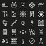Ιατρικά εικονίδια που τίθενται στο μαύρο υπόβαθρο Στοκ Εικόνα