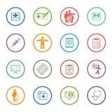 Ιατρικά & εικονίδια υγειονομικής περίθαλψης καθορισμένα Επίπεδο σχέδιο Στοκ Φωτογραφίες