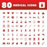 80 ιατρικά εικονίδια Στοκ Εικόνες