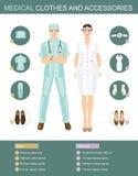 Ιατρικά ενδύματα και εξαρτήματα ιατρικοί άνθρωποι Στοκ Εικόνες