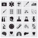 Ιατρικά και βιολογικά λεπτομερή εικονίδια καθορισμένα διανυσματική απεικόνιση