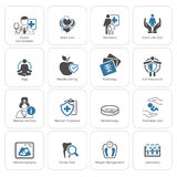 Ιατρικά και εικονίδια υγειονομικής περίθαλψης καθορισμένα Επίπεδο σχέδιο Στοκ Εικόνα