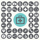Ιατρικά και εικονίδια υγειονομικής περίθαλψης καθορισμένα Διανυσματική απεικόνιση