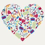 Ιατρικά και εικονίδια υγειονομικής περίθαλψης με μορφή διανυσματική απεικόνιση