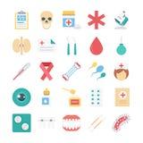 Ιατρικά και χρωματισμένα υγεία διανυσματικά εικονίδια Στοκ φωτογραφία με δικαίωμα ελεύθερης χρήσης