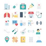 Ιατρικά και χρωματισμένα υγεία διανυσματικά εικονίδια Στοκ Εικόνες