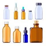 Ιατρικά μπουκάλια γυαλιού Απομονωμένα εμπορευματοκιβώτια και μπουκάλια γυαλιού για τα ιατρικά χάπια και τα υγρά φάρμακα απεικόνιση αποθεμάτων