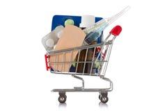 ιατρικές προμήθειες αγορών κάρρων Στοκ εικόνα με δικαίωμα ελεύθερης χρήσης