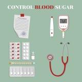 Ιατρικές συσκευές και φάρμακα έλεγχος της γλυκόζης αίματος Στοκ Εικόνες