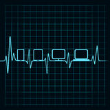Ιατρική έννοια τεχνολογίας - εικονίδιο συσκευών κτύπου της καρδιάς Στοκ Εικόνες