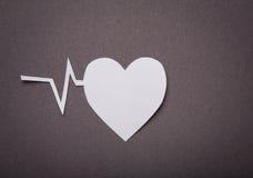 Ιατρική ανασκόπηση, αποκοπή εγγράφου της καρδιάς και γραφική παράσταση σφυγμού Στοκ Φωτογραφίες