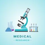 Ιατρική απεικόνιση Researh Μικροσκόπιο σε ένα υπόβαθρο επίσης corel σύρετε το διάνυσμα απεικόνισης Στοκ εικόνες με δικαίωμα ελεύθερης χρήσης