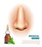 Ιατρική αφίσα υποβάθρου μπουκαλιών ψεκασμού μύτης απεικόνιση αποθεμάτων