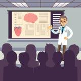 Ιατρική διανυσματική απεικόνιση διασκέψεων Ο χαμογελώντας γιατρός δημοσιοποιεί μια παρουσίαση διανυσματική απεικόνιση